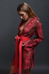 Ruby Pink Lace Robe shop