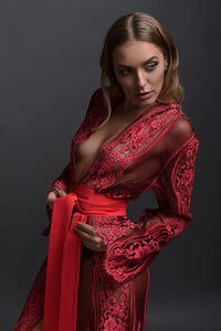 Ruby Pink Lace Robe USA