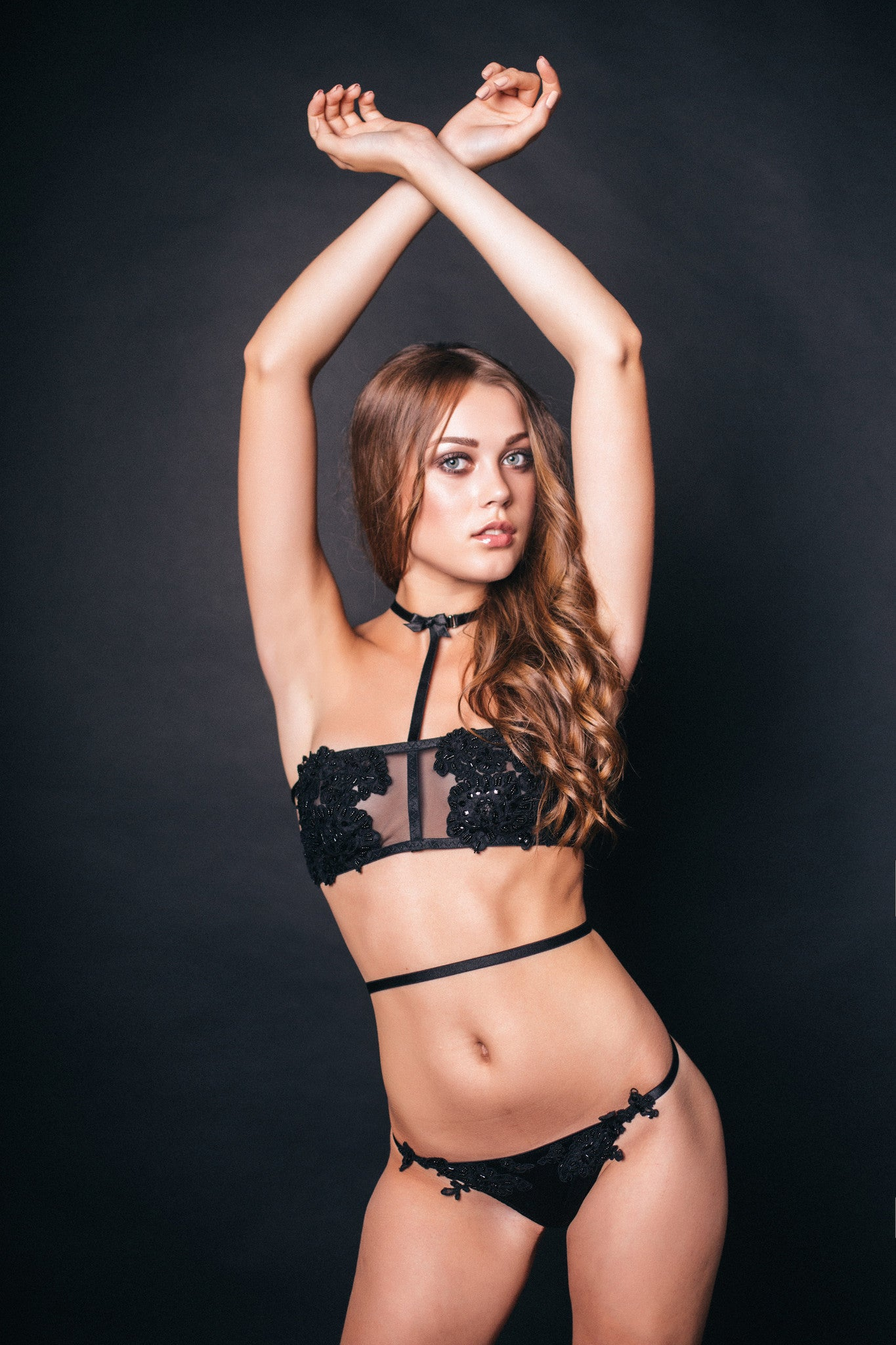 Selene Decorated Black Lingerie USA