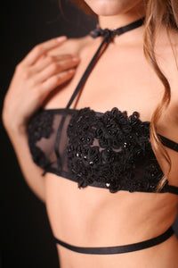 Selene Decorated Black Lingerie buy