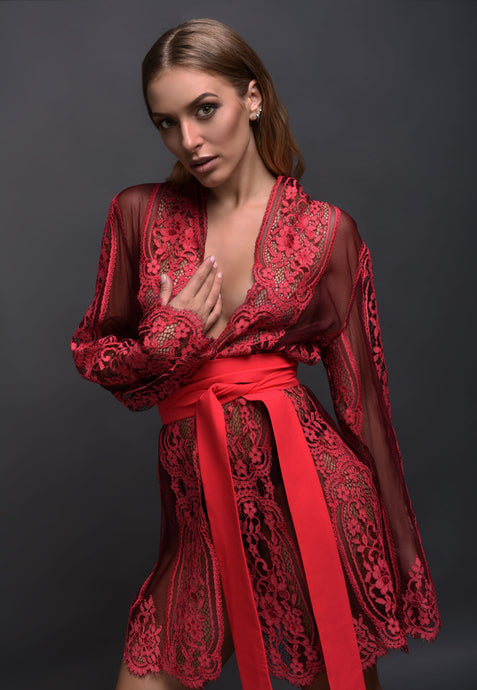 Ruby Pink Lace Robe buy