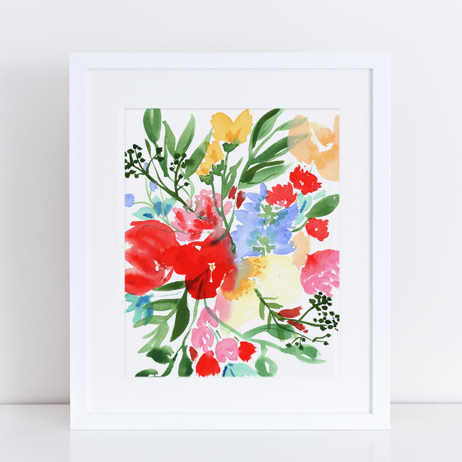 Wild Bouquet Watercolor Print