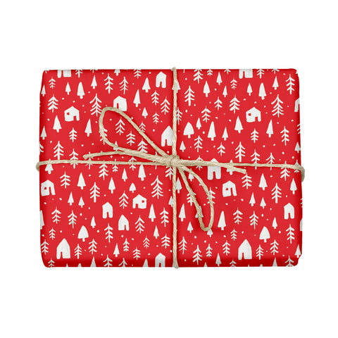 Festive Forest Gift Wrap - Red