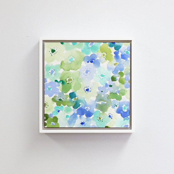 "Anemones in Blue - 8x8"" Framed"