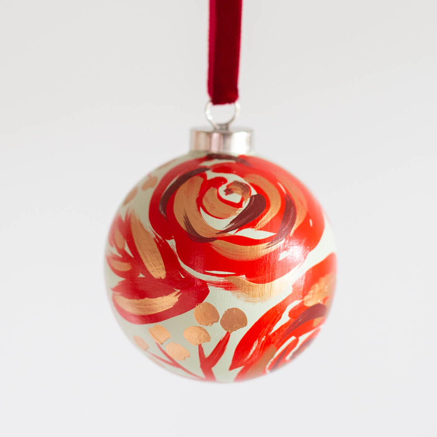 Hand-Painted Ornament - Berry Red