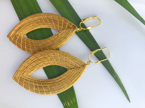 Golden Grass Leaf Shape Earrings
