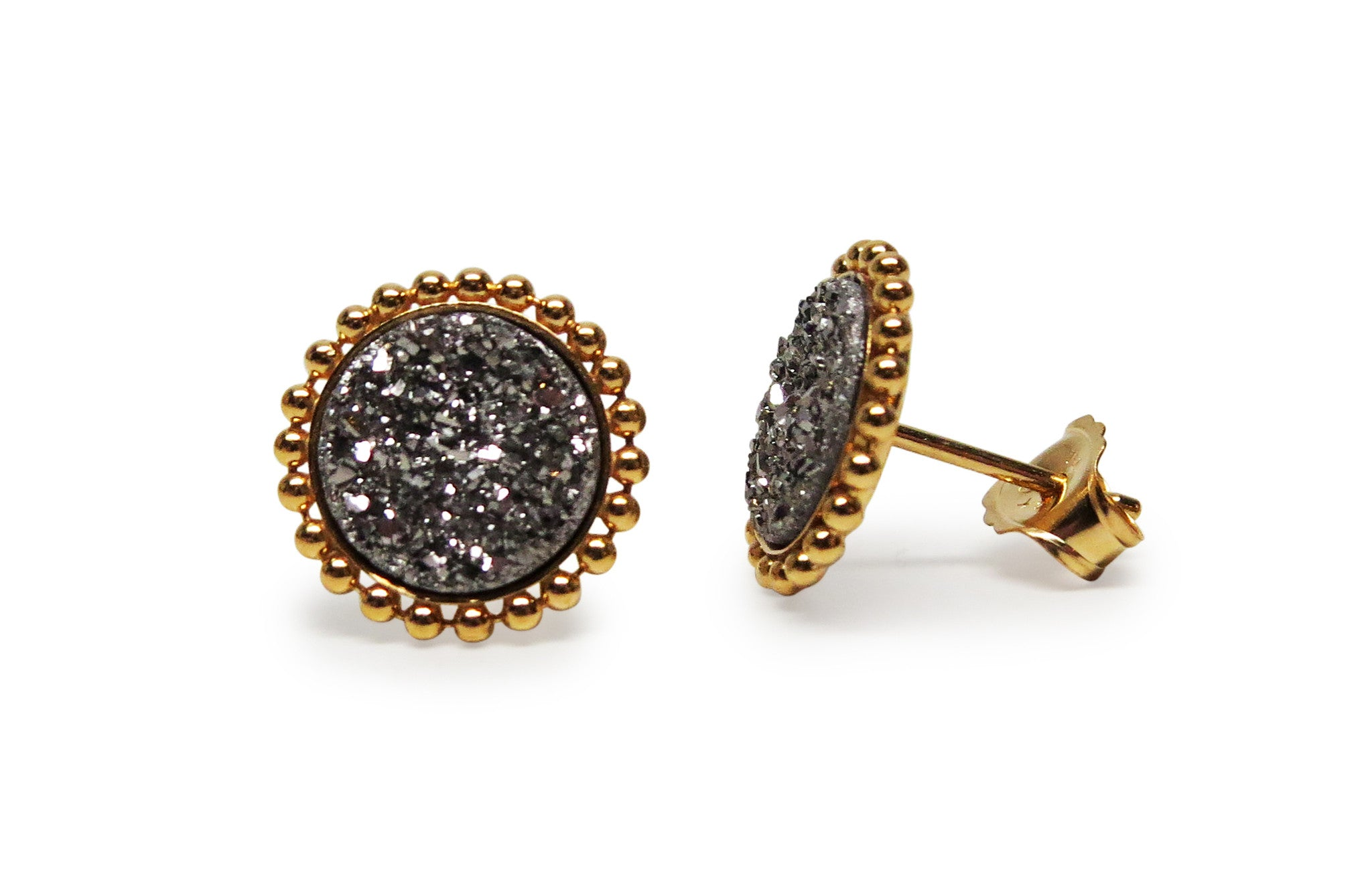Gold Platinum Beaded Druzy Studs