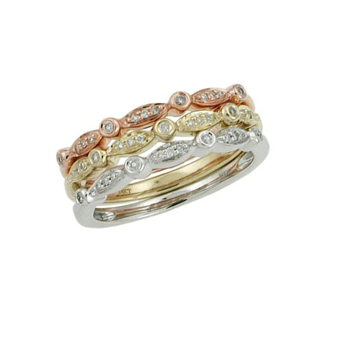 .15ct 10k Tri-Color Stackable Ring
