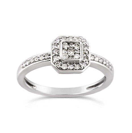 14kt .25ct White Gold Halo Engagement Ring