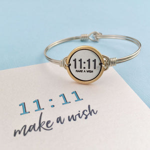 Luca and Danni 11:11 Make a Wish Silver Bangle Bracelet