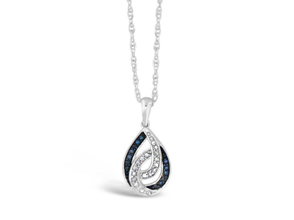 Sterling Silver .09ct Blue & White Diamond Necklace