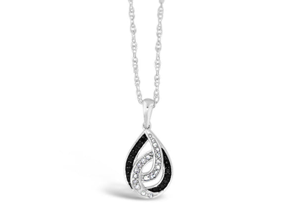 Sterling Silver .09ct Black & White Diamond Necklace