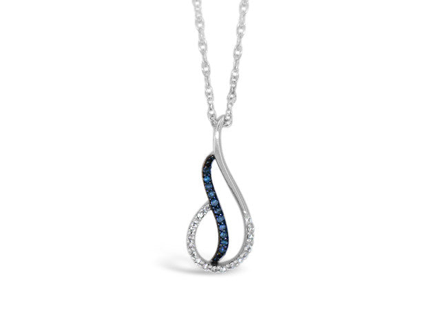 Sterling Silver .10ct Blue Diamond Necklace
