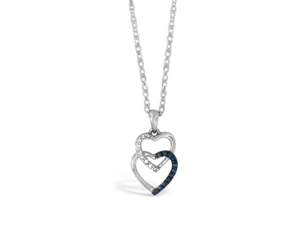 Sterling Silver .07ct  Blue Diamond Heart Necklace