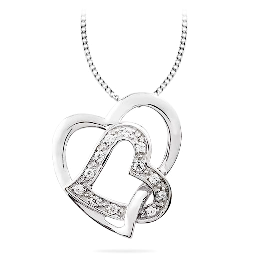 Sterling Silver .06ct Diamond Double Heart Necklace