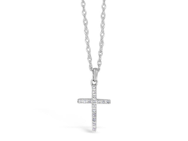 Sterling Silver .06ct Diamond Cross Necklace