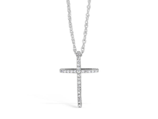 Sterling Silver .08ct Diamond Cross Necklace