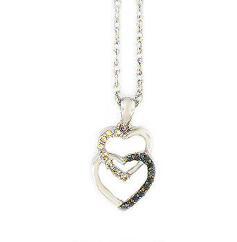 Sterling Silver .07ct  Black Diamond Heart Necklace