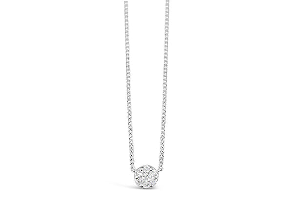 Sterling Silver .10ct Diamond Circle Cluster Necklace