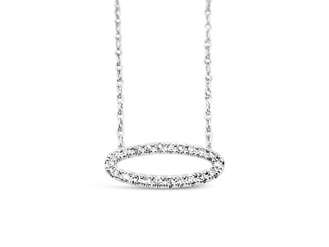 Sterling Silver .16ct Diamond Oval Necklace