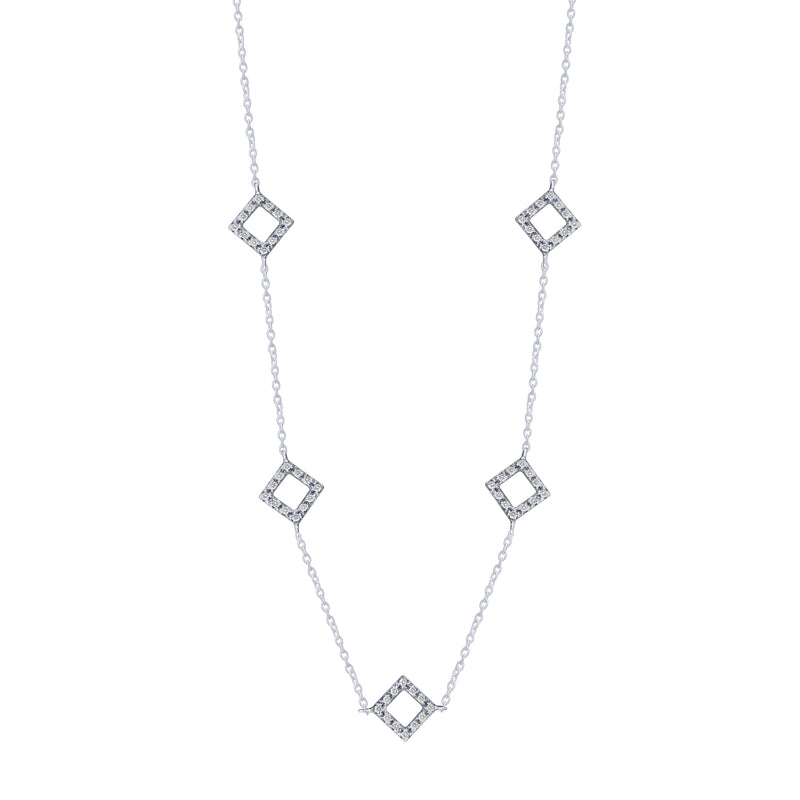 Sterling Silver .15ct Diamond Square Station Necklace