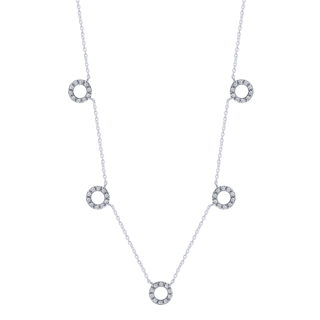 Sterling Silver .15ct Diamond Round Station Necklace