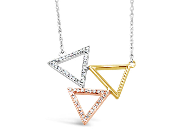 14k Gold Three-Tone .20ct Triangle Diamond Necklace