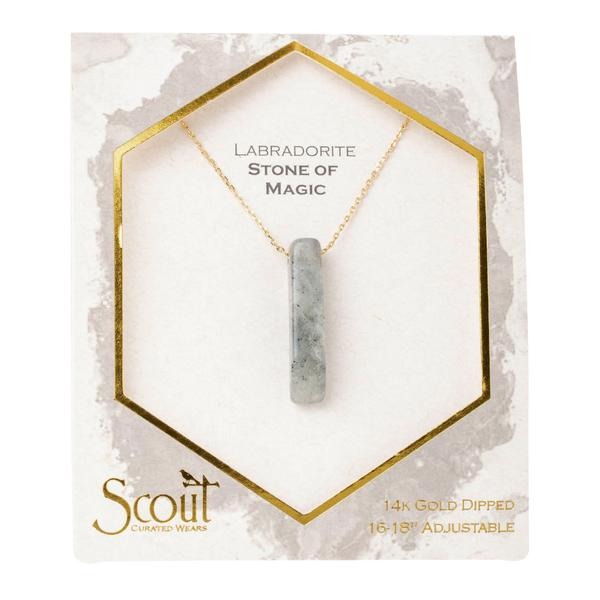 Scout Curated Wears Gold Labradorite Stone of Magic Point Necklace