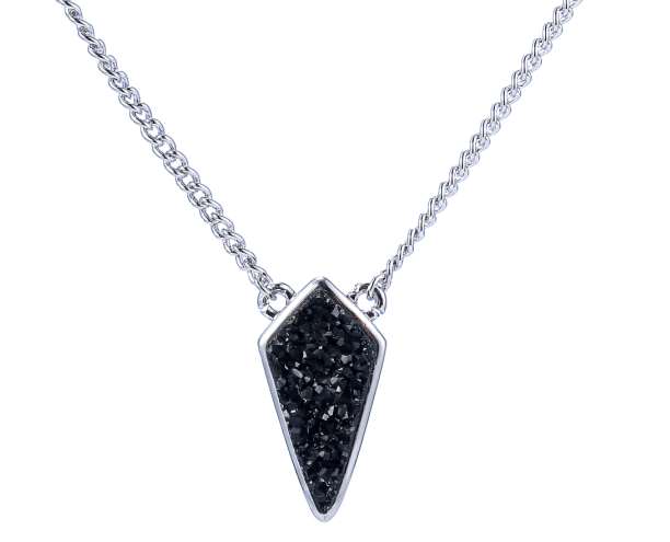 Silver Black Druzy Kite Necklace