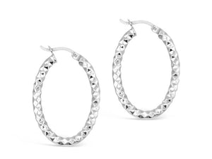 Sterling Silver Large Oval Fancy Round Hoops