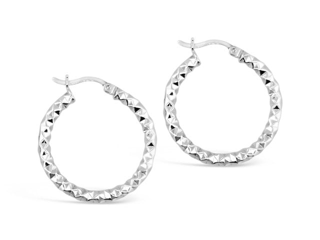 Sterling Silver Medium Fancy Round Hoops