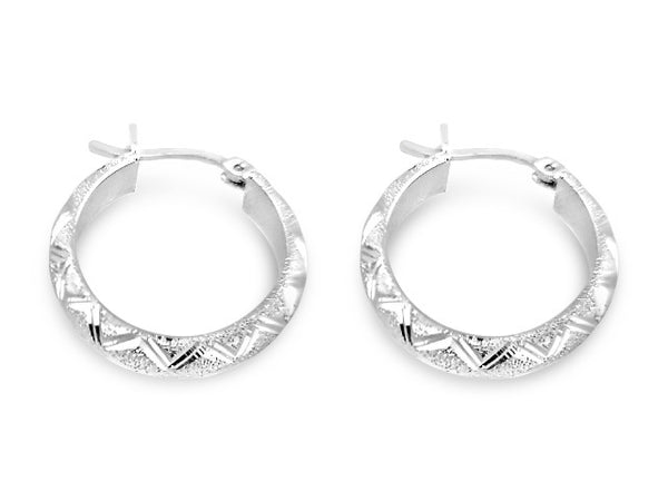 Sterling Silver Medium Oval Satin Diamond Cut Hoops