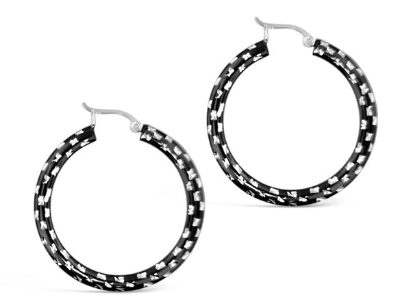Sterling Silver Large Black Diamond Cut Hoops