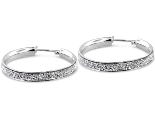 Sterling Silver Pave Diamond Cut Round Hoops