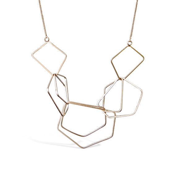 Gold Satin Multipolygon Necklace