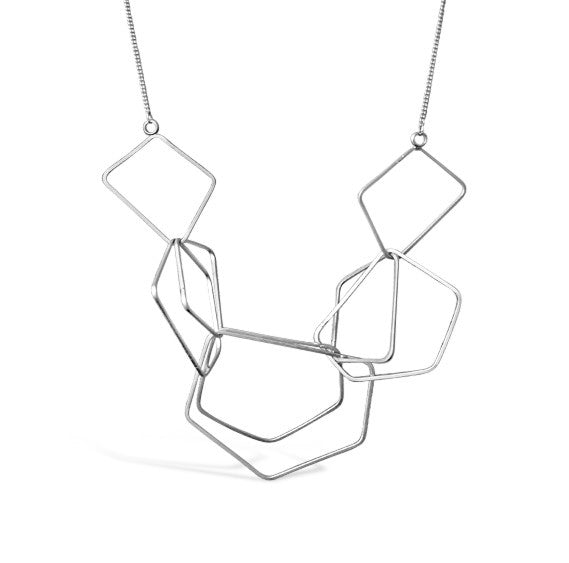 Silver Satin Multipolygon Necklace
