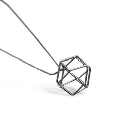 GunMetal Satin Hollow 3D Hexagon Long Necklace