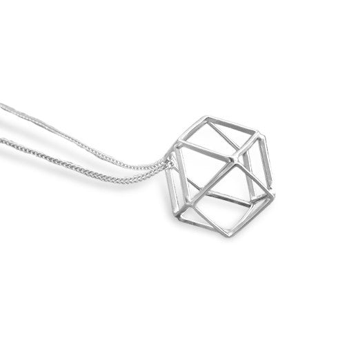 Silver Satin Hollow 3D Hexagon Long Necklace