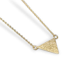 Gold Brushed Flat Triangle Necklace