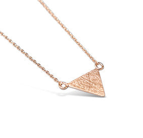 Rose Gold Brushed Flat Triangle Necklace