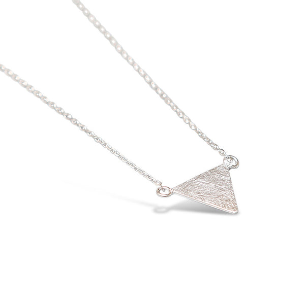 Sterling Silver Brushed Flat Triangle Necklace