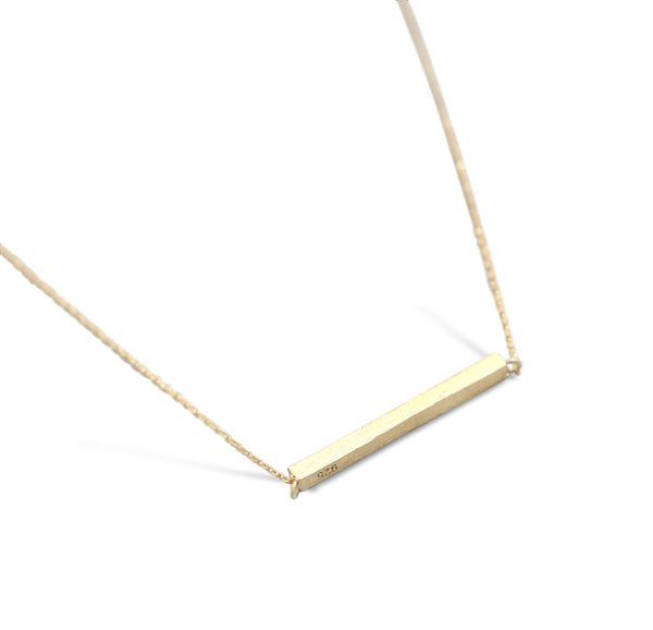 Gold Brushed Bar Necklace