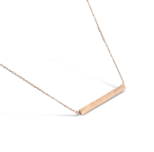 Rose Gold Brushed Bar Necklace