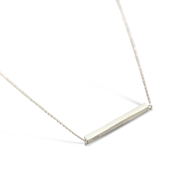 Sterling Silver Brushed Bar Necklace