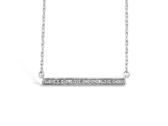 Sterling Silver .10ct Diamond Bar Necklace