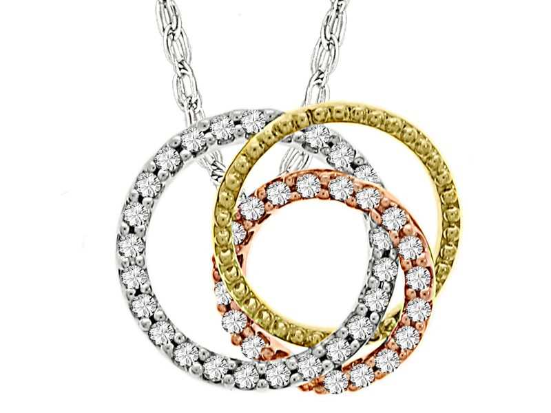 14k Gold Three-Tone .33ct Circle Diamond Necklace