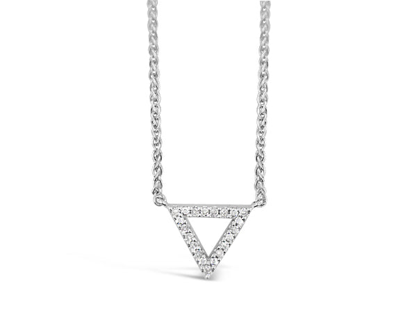 Sterling Silver .10ct Diamond Triangle Necklace
