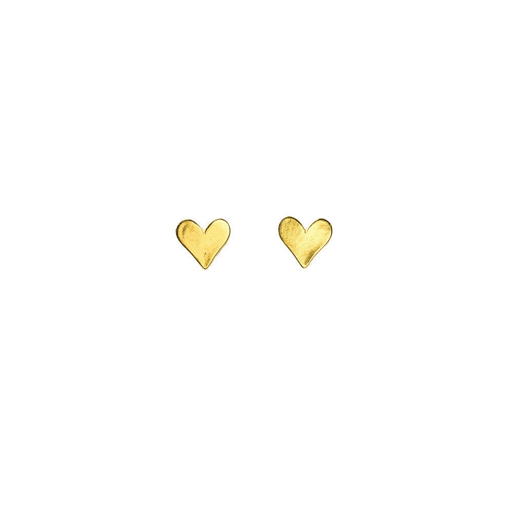 Gold Dipped Heart Stud Earrings