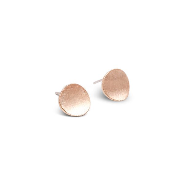 Rose Gold Satin Curved Dot Stud Earrings