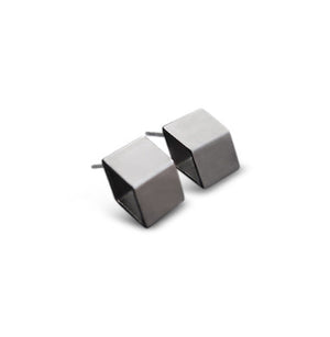GunMetal Satin Deep Diamond Contour Stud Earrings